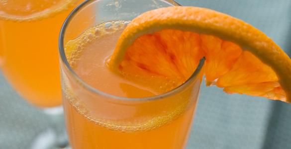 коктейли с шампанским, рецепты коктейлей с шампанским, апельсиновое шампанское