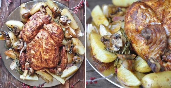 курица в духовке целиком с картошкой и грибами рецепт с фото