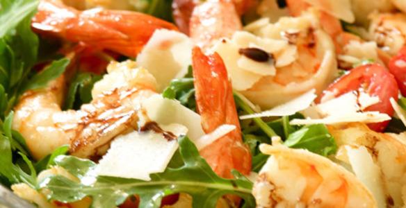 салат с креветками и рукколой рецепт с фото